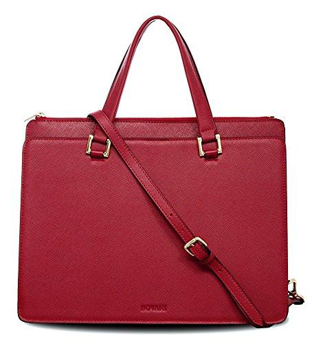 Bovari Victoria Bag Handtasche Schultertasche Umhängetasche (39x29x13 cm) – Saffiano Leder – Rot/Red/Rouge (Prada Rot Leder)