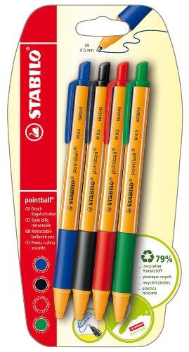 Kugelschreiber - STABILO pointball -  4er Pack - blau, schwarz, rot, grün