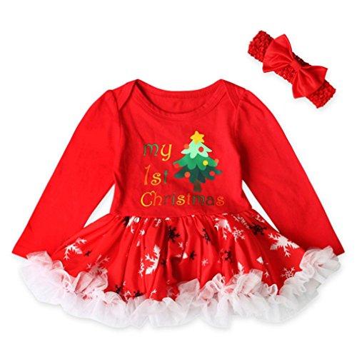 YunYoud Kleinkind Neugeborene Baby Kleid Mädchen Weihnachten Drucken Prinzessin Kleid O-Ausschnitt Lange Ärmel Party Kleid Niedlich Puff Rock Mode Elegantes Kleid + Bowknot Stirnband (100, Rot) (Gestreift, Puff-Ärmel Top)