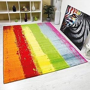 VIMODA Teppich Modern Design Kurzflor Multicolor Gestreift in Rot Grün Gelb, Maße:80 x 300 cm
