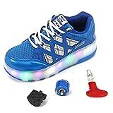 Recollect Bambino LED Lampeggiante 2 Ruota Outdoor Multisport Unisex Ginnastica Skateboard Sneakers Sportive Scarpe Ragazze e Ragazzi,Blue,29EU