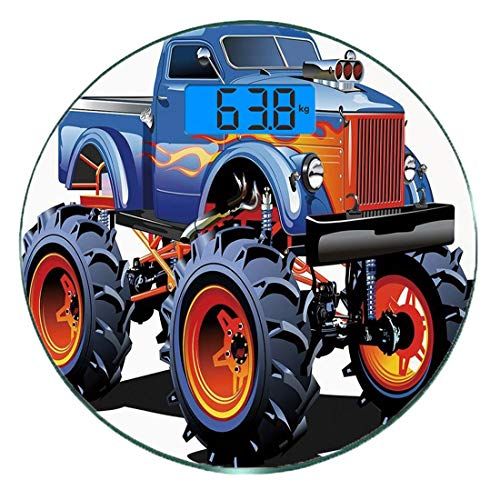 Bilancia digitale di precisione tondo Man Cave Decor Misurazioni accurate del peso della bilancia pesapersone in vetro ultra sottile,Cartoon Monster Truck Enormi pneumatici Fuori strada Pesant