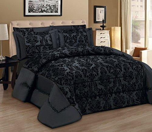 Set di biancheria da letto lisa, composto da copriletto/trapunta e 2 federe copricuscino, moderno, damascato, di lusso, colore nero, di ottima qualità, lino, black, king 240 x 260