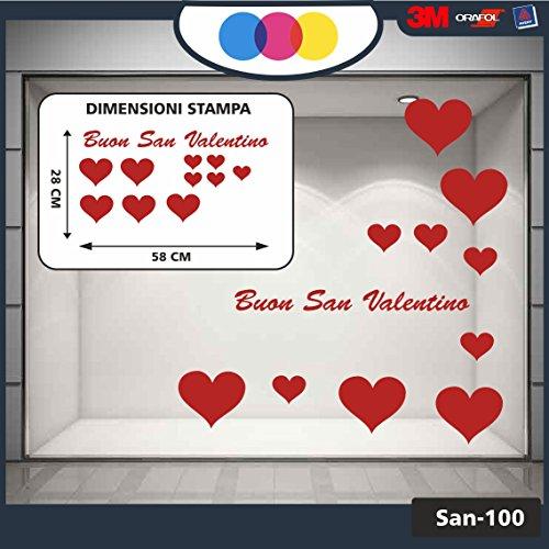 Vetrofania san valentino -- 11 adesivi -- - cuori adesivi - rosso - vetrine per negozi - - love, san valentino, stickers, adesivi
