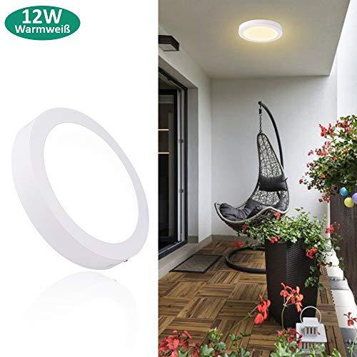 Deckenleuchte Rund 12W LED Deckenlampe Wandlampe Wandleuchte 3000K Warmweiß für Küche, Flur, Keller (Nicht Dimmbar)