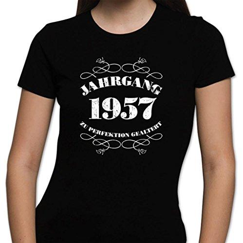 Damen T-Shirt Spaß 60. Geburtstag Jahrgang 1957 Geschenk verpackt Rot