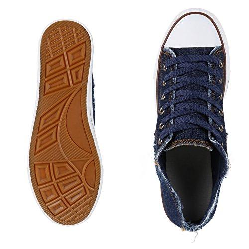 Bequeme Unisex Sneakers   Low-Cut Modell   Basic Freizeit Schuhe   Viele Farben   Gr. 36-45 Dunkelblau Denim Blu
