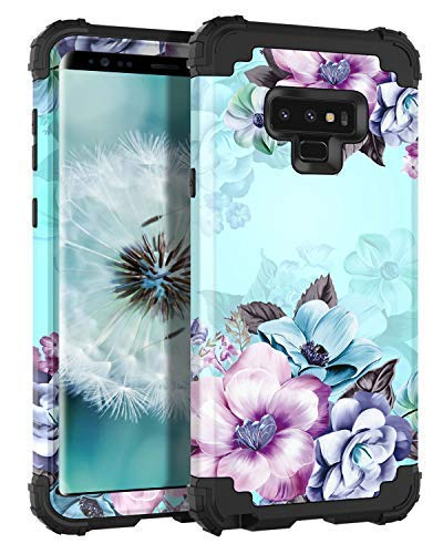 Casetego Compatible Galaxy Note 9 Hülle,Galaxy Note 9 Case,Floral Three Layer Heavy Duty Hybrid Sturdy Armor Shockproof Full Body Protective Cover Case Samsung Galaxy Note 9-Blue Flower -