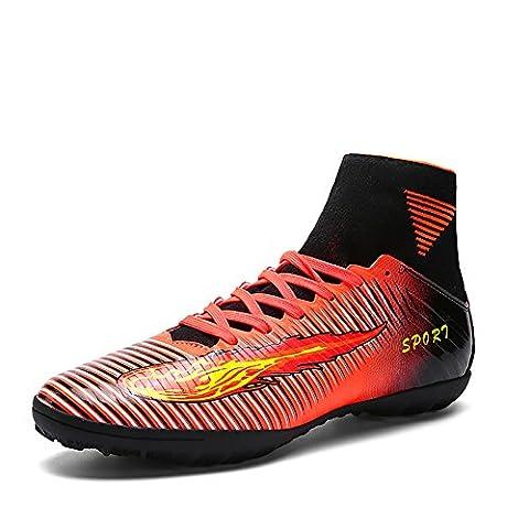 ASHION Männer sind schwarz lila hohe Knöchel Rasensohle Innen Stollen Fußballschuhe Schuhe Fußballschuhe (44, Orange)