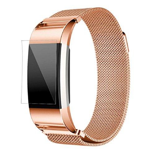 Fitbit Charge 2 Armband, OverDose Milanese Edelstahl Uhrenarmband-Bügel-Armband + HD Film für Fitbit Charge 2 (Roségold)