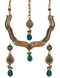 Variation Green Stone Gold Plated Diamond Necklace Set With Mangtikka-VD10308
