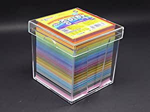Jong le Nara Lot de 1000 feuilles carrées pour origami avec boitier en plastique 7 cm