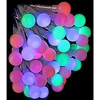 DECO NOEL - Guirlande lumineuse 120 perles LED Multicolores 6 mètres d'éclairage et 8 jeux de lumière