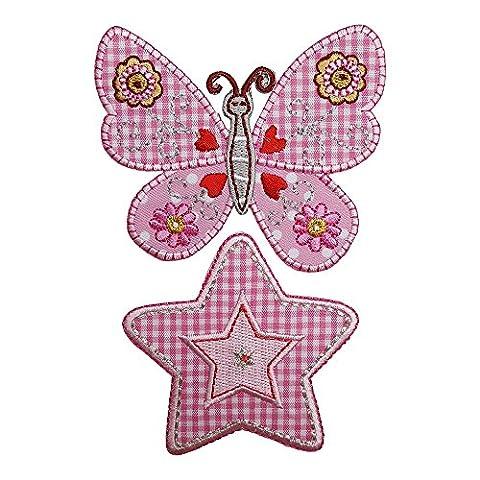 Rosa Schmetterling 7Cm High Herz Rund 7X7Cm