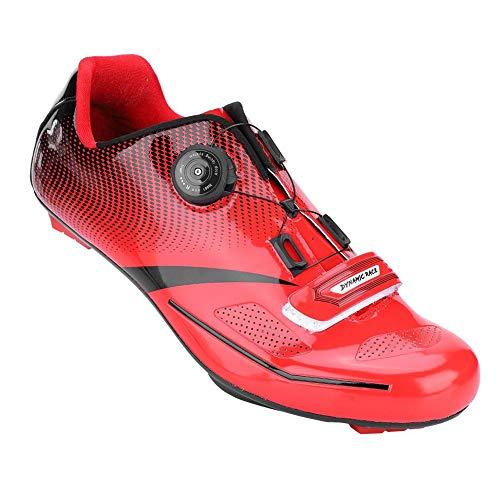 Alomejor 1 Paio Scarpe da Ciclismo Anti-Skid SPD Sistema di Blocco Scarpe da Bici da Strada Traspirante Uomo Adulto(43-Rosso)