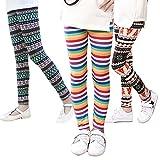 IEUUMLER 3PCS Mädchen Leggings Kinder Herbst Girls Hose mit Blumen-Print DK004 (Color 4, Height:121-130cm/70#)