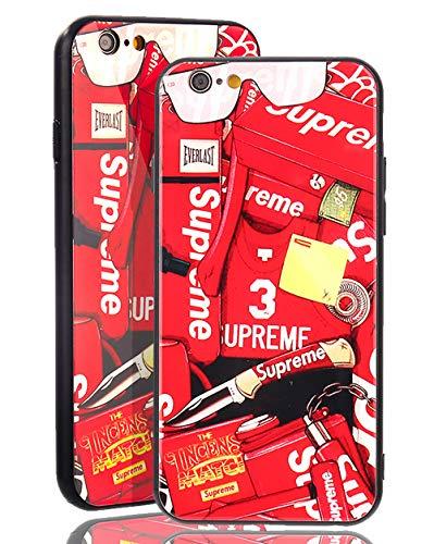 SUP [ Passend für Apple iPhone 6 / 6s, in Rot Supreme Sticker Case - Rückseite aus echtem Panzerglas 9h - NY Logos