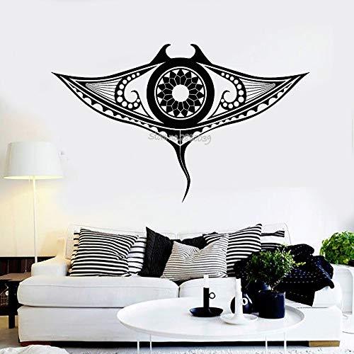 zqyjhkou Vinyl Wandtattoo Manta Ray Marine Ozean Tier Tribal Home Decor Aufkleber Kunst Sofa Hintergrund Wallpaper Decals 1 93x56 cm