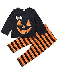 Baby Girl Halloween Outfit Camiseta de manga larga Top y pantalón de rayas 2 piezas Set de ropa