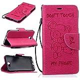 Chreey Coque Huawei Y5 II / Huawei Y5 2 (5 pouces) (DON'T TOUCH MY PHONE),PU Cuir Portefeuille Etui Housse Case Cover ,carte de crédit Fentes pour ,idéal pour protéger votre téléphone