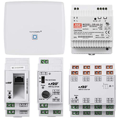 Homematic Wired RS485 Smart Home Starter Paket zum Aufbau Einer Hausautomation über EIN Bussystem. Inhalt CCU3, RS485 LAN Gateway, RS485 Überspannungsschutz, RS485 I/O Modul, Netzteil