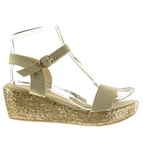 Angkorly Chaussure Mode Sandale Mule Plateforme Femme Lanière Pailettes Brillant Talon Compensé Plateforme 6 CM Beige