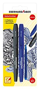 Eberhard Faber 582103Bolígrafo de Gel, borrable, 2Unidades, Incluye Azul Minas de Repuesto