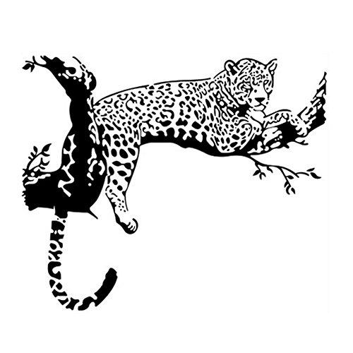 DaoRier Wandaufkleber Wohnzimmer Wandaufkleber Schlafzimmer Wandaufkleber Leopard Wandaufkleber Schwarz Muster , 1 Stück (Leopard Stück Ein)