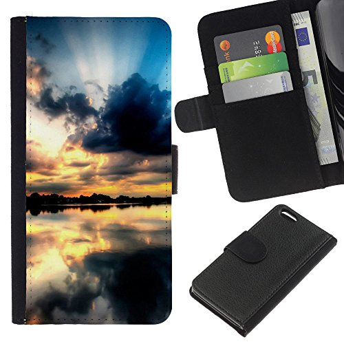 Ihec-Tech / Flip étui Housse en cuir avec des fentes de cartes pour Apple iPhone 5C - Sunset Beautiful Nature 68