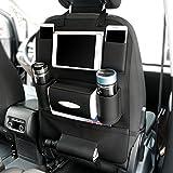 BAYLI Autositz Rückenlehnenschutz mit viel Stauraum - Autotasche für PKW Rücksitztasche Auto Rücksitz Organizer Tasche Rückenlehnentasche (Schwarz (Kunstleder))