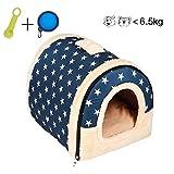 ENKO Hundebetten / Hundehütte / Katzenhöhle / Katzenhaus, Hohe Qualität Indoor Portable Faltbare Hund Zimmer Katzenhöhlen. (M, BLUE)