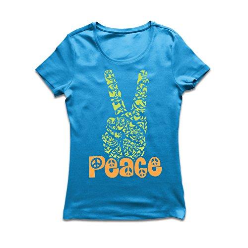 (lepni.me Frauen T-Shirt Hippie-Friedenstages-Symbol, 60s 70s Hippy-Partei-Zeichen, Swag Hipster (X-Large Blau Mehrfarben))