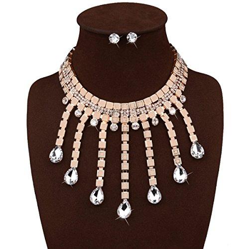 Femme Alliage Diamant Collier Exagéré Rétro Réglable Chaîne De La Clavicule gold