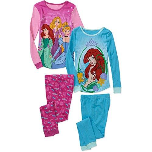 Prinzessin Rapunzel Ariel M?dchen 4 PC Langarm engen Fit Pyjama Set Gr??e 8 (Langarm-pyjamas Prinzessinnen Disney)