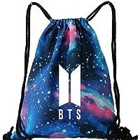 U-K-NOW BTS Kpop Mochila de lona luminosa con cordón ajustable, para niños, casual, bolsa de equipamiento, bolsa de malla para natación y gimnasio, ...