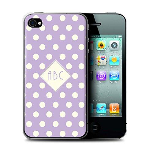 Personalisiert Individuell Tupfen Polka Hülle für Apple iPhone 8 / Dunkelblau Design / Initiale/Name/Text Schutzhülle/Case/Etui Violett