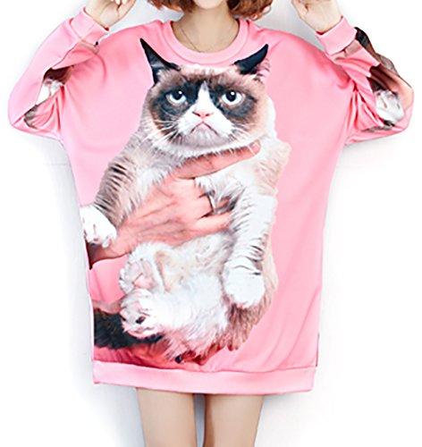"""LAI MENG """"Grumpy Cat"""" raccolto T-shirt manica lunga cime delle donne EU 42-50"""