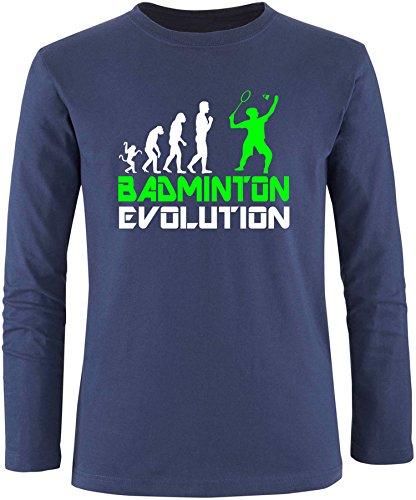 EZYshirt® Badminton Evolution Herren Longsleeve Navy/Weiss/Neongr