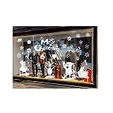 ODJOY-FAN Weiß Entfernbar Fenster Aufkleber Weihnachten Wandtattoos Restaurant Einkaufszentrum Dekoration Wandbilder Schnee Glas Wandaufkleber(A,1 PC)