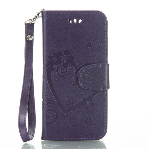 Price comparison product image Huawei Ascend Y5 Y560 Case Leather, Ecoway Love embossed pattern PU Leather Stand Function Protective Cases Covers with Card Slot Holder Wallet Book Design Detachable Hand Strap for Huawei Ascend Y5 Y560 - purple