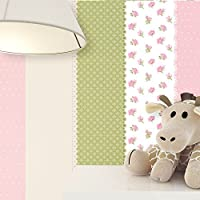 NEWROOM Kindertapete Rosa Vliestapete Beige Grün Kinder Blumen,Streifen  Schöne Moderne Und Edle Optik Für