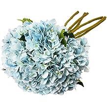 TYEERDEC Flores Hortensias Artificiales 6 Paquetes Flores Ramo de Hortensias Artificiales de Seda para La Decoración del Hotel del Jardín y La Fiesta de La Boda- Azul