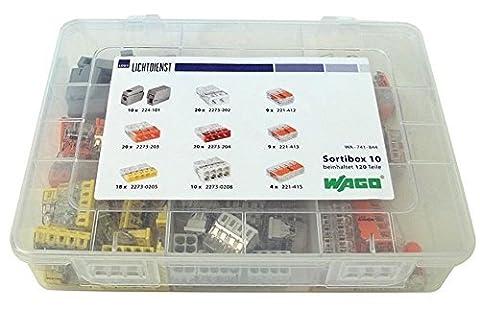 WAGO Box mit 120 Klemmen (MINI-Hebel- Leuchten- Normalklemmen) Sortibox Nr. 10