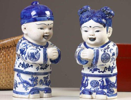 2 chinesische Porzellan Kinder als Paar (2 - Figuren Chinesische Porzellan