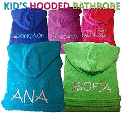 Personalizable Kid 's con capucha Terry Albornoz de punto color azul/rosa/verde/lila/turquesa, algodón felpa, Turquesa, 4 años