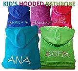Personalizzato Bambini Accappatoio con cappuccio in spugna, colore: blu/rosa/verde/lilla/turchese, 100% cotone Spugna, Turchese, 6 anni