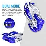 Enlarge toy image: SGILE Remote Control Car Toy, Wall Climbing Climber Car with New Remote Control, Dual Mode 360° Rotating Stunt Car Racing Vehicle, LED Head Rechargeable Gravity Defying, Present for Kids Boy Girl Birthday, Blue - school time children learning and fun