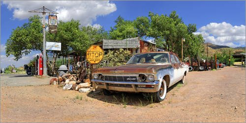 impresion-en-madera-100-x-50-cm-gas-station-hackberry-with-old-chevrolet-impala-de-michael-rucker