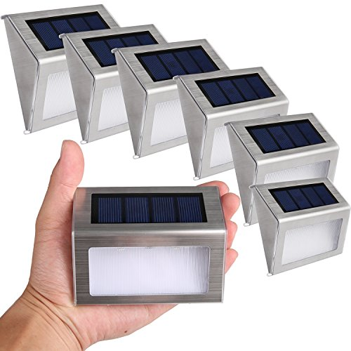 Liqoo 6x Solar Aplique LED Impermeable Luz de Pared Sensor Blanco Frío 6000K...