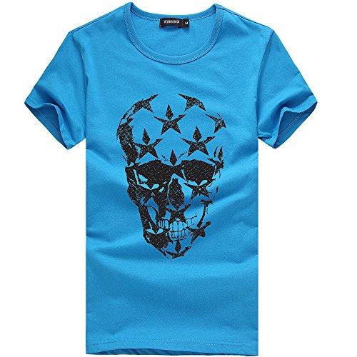 Dragon868 Herren Persönlichkeitsschädel Druck beiläufiges bequemes elastisches kurzes T-Shirt
